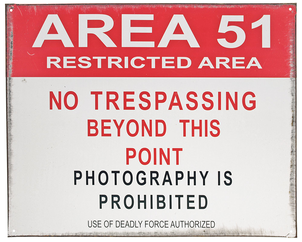 AREA 51 RESTRICTED AREA TIN SIGN
