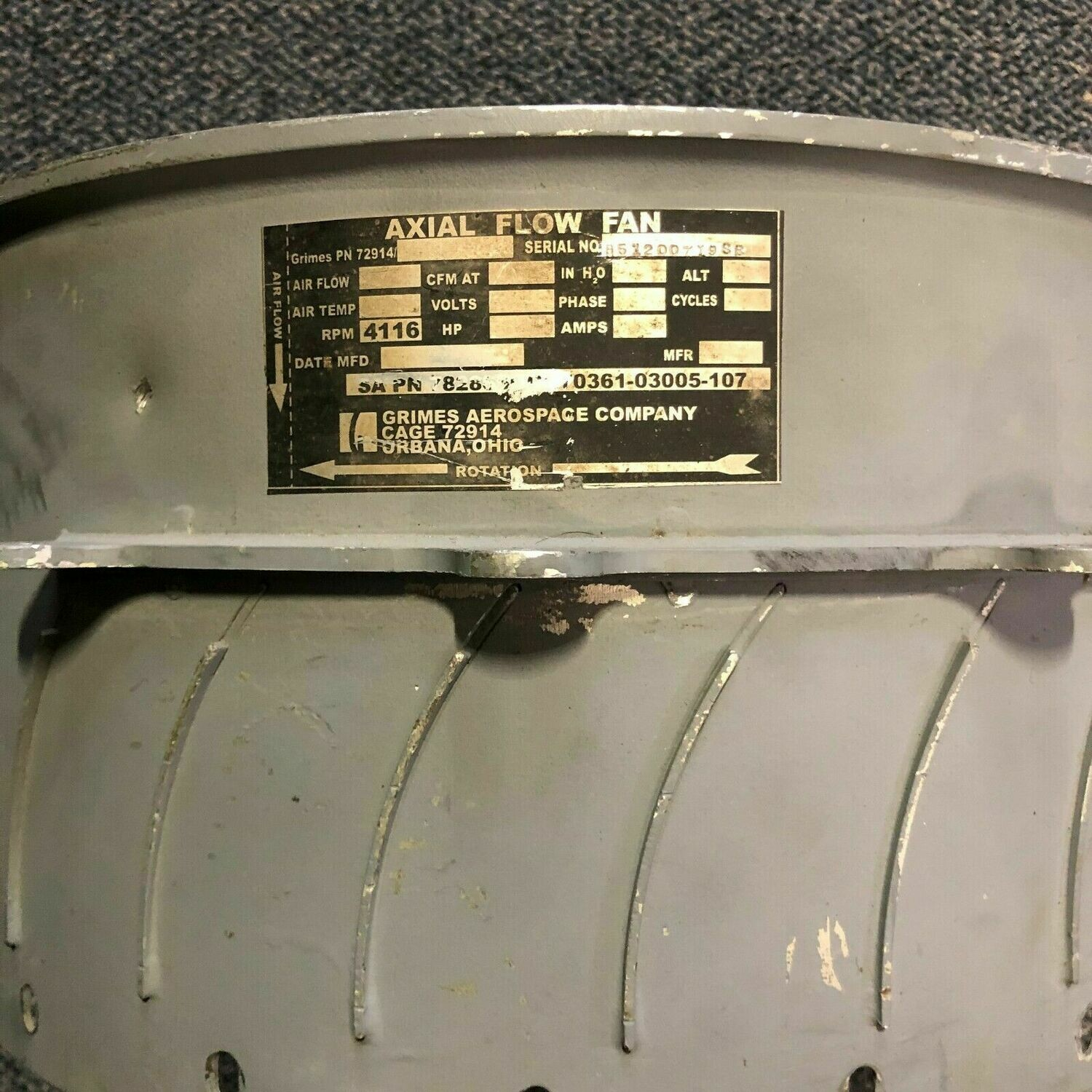 VANEAXIAL FLOW FAN CABIN PRESSURIZER GRIMES AEROSPACE UH-60 HELICOPTER