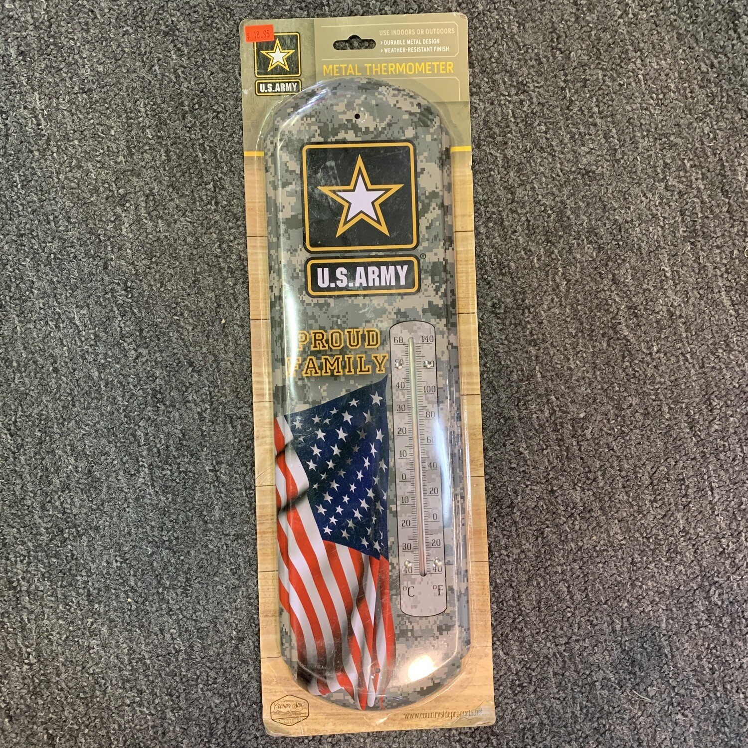 U.S ARMY METAL OUTDOOR THERMOMETER