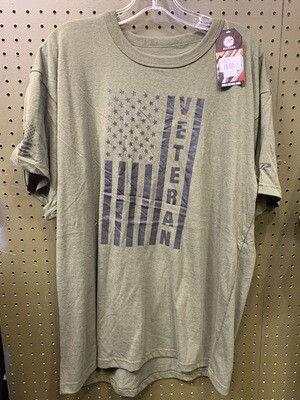 OD GREEN AMERICAN FLAG VETERAN SHIRT