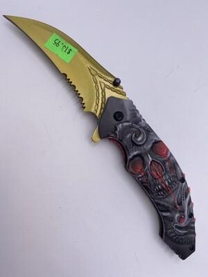 GOLD RED SKULL STEEL KNIFE