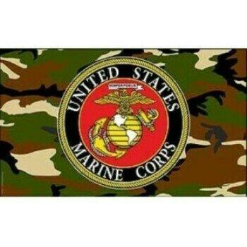 USMC EMBLEM CAMO FLAG