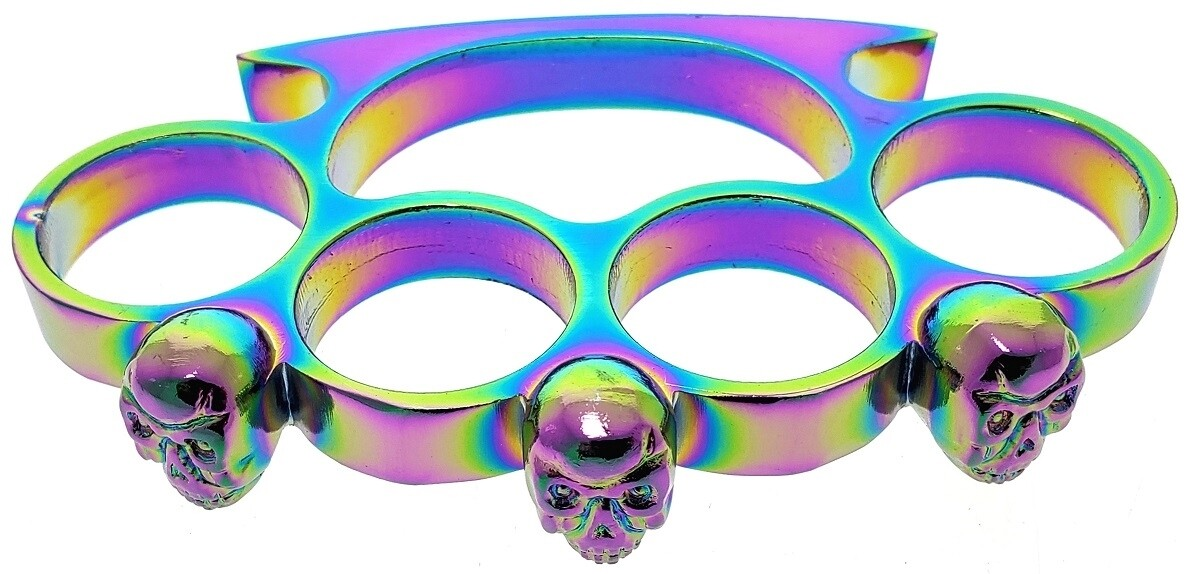 RAINBOW SKULL BRASS KNUCKLES