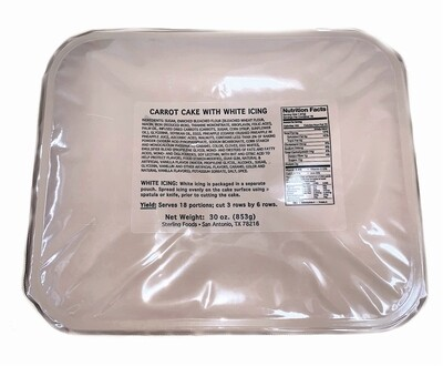 MRE CARROT CAKE W/WHITE ICING TRAY