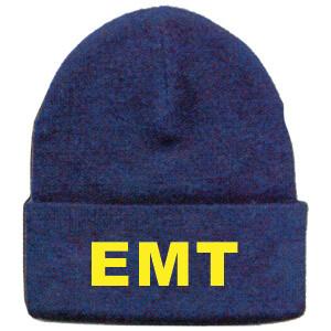 BLUE KNIT BEANIE W/GOLD EMT LETTERS