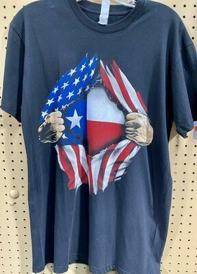 AMERICAN & TEXAS FLAG TSHIRT