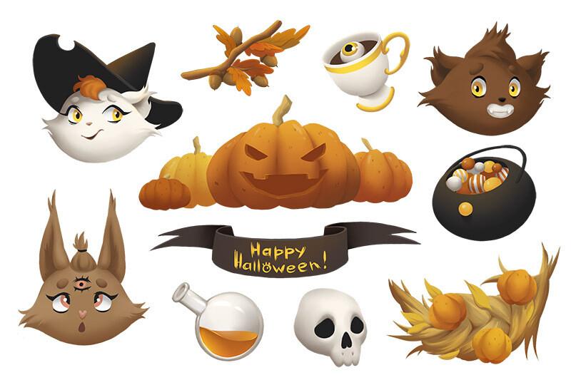 "Стикерпак (набор наклеек) ""Хэллоуин 2"""