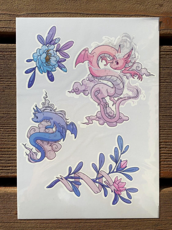 """Стикерпак """"набор наклеек"""" """"Цветочный дракон"""