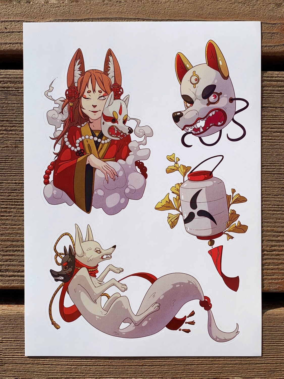 """Стикерпак (набор наклеек) """"Японские лисы"""""""