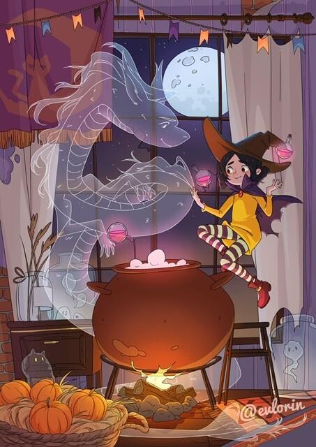 """Открытка """"Лори и Хэллоуин"""""""