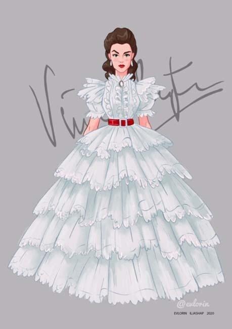 """Открытка """"Вивьен Ли"""" платье 1"""