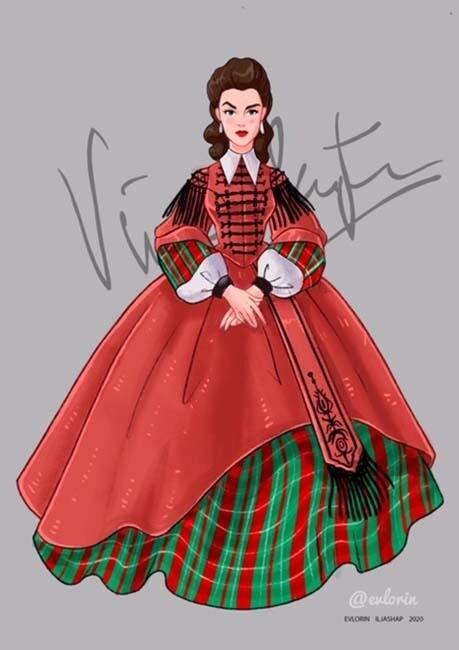 """Открытка """"Вивьен Ли"""" платье 6"""