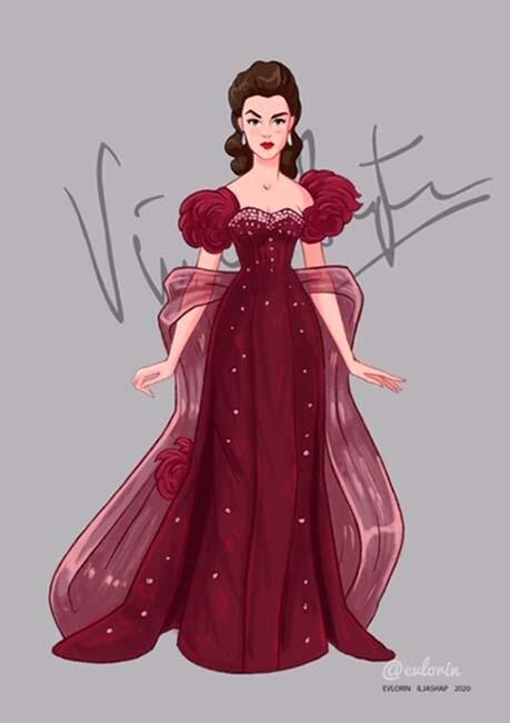 """Открытка """"Вивьен Ли"""" платье 2"""