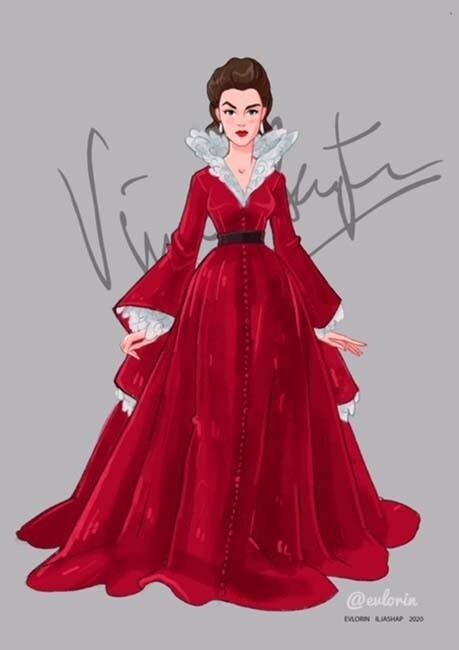 """Открытка """"Вивьен Ли"""" платье 8"""