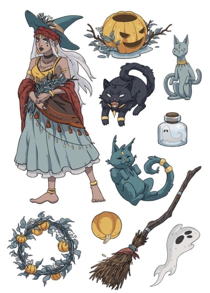 """Стикерпак (набор наклеек) """"Ведьма и коты"""""""