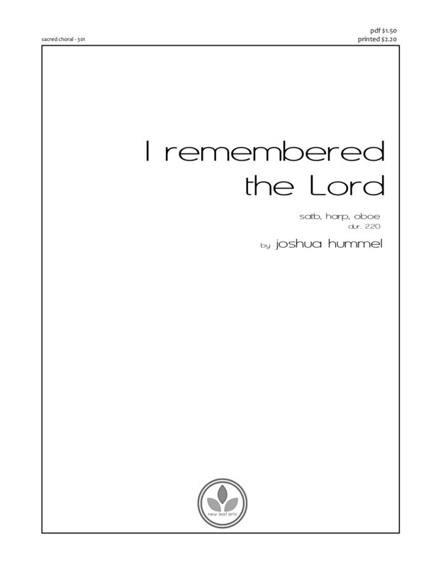 I REMEMBERED THE LORD - SATB, harp, oboe