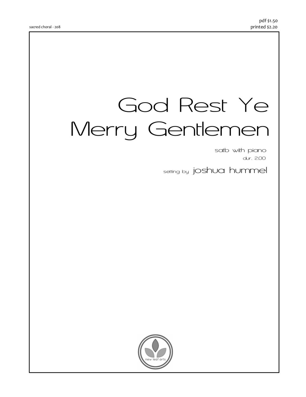 GOD REST YE MERRY GENTLEMEN - SATB with piano