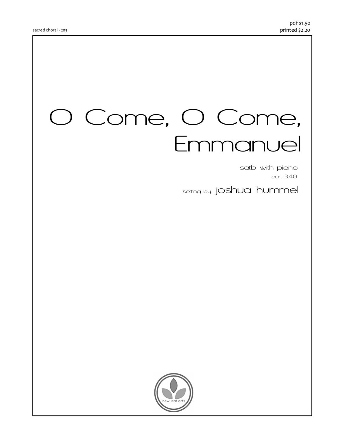 O COME, O COME, EMMANUEL - SATB with piano