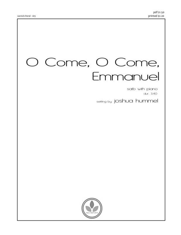 O COME, O COME, EMMANUEL - SATB with piano