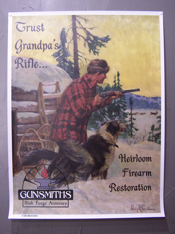 "Vintage Style Canvas Ad. ""Trust Granpa's Rifle"""