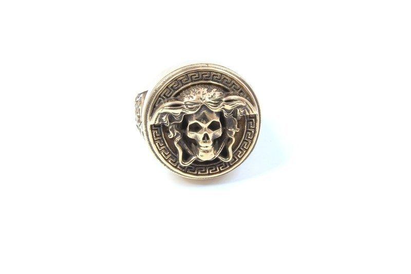 Anello Medusa Skull Bronzo Brunito