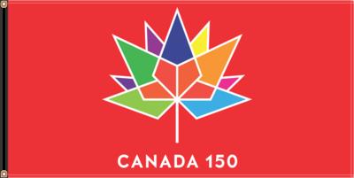 36'' X 72'' RED Flag with CANADA 150e logo  / Drapeau Canada 150