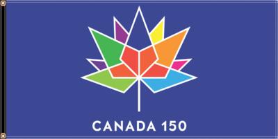 36'' X 72'' BLUE Flag with CANADA 150e logo / Drapeau Canada 150