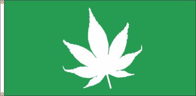 CANNABIS  FLAG (GREEN)  18 X 36 inches (free shipping) / DRAPEAU CANNABIS (VERT) 18 x 36 pouces (livraison incluse)