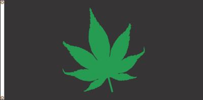 CANNABIS  FLAG (BLACK)  18 X 36 inches (free shipping) / DRAPEAU CANNABIS (BLACK) 18 x 36 pouces (livraison incluse)
