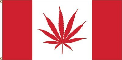 RED CANNABIS CANADA FLAG 18 X 36 inches (free shipping) / DRAPEAU ROUGE CANNABIS CANADA 18 x 36 pouces (livraison incluse)