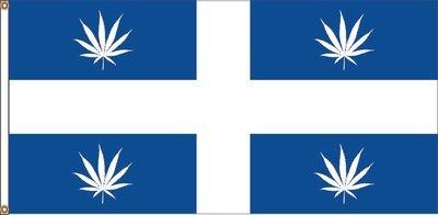 CANNABIS Drapeau BLEU du Québec (36 x 72 pouces) /  CANNABIS Quebec flag (36 x 72 inches)
