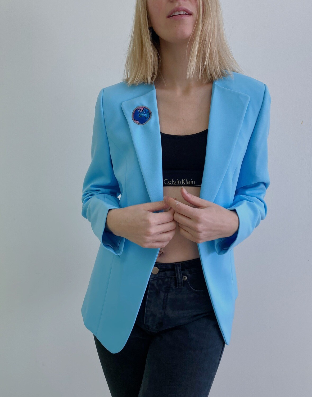 Veston bleu/ Broderie Terre