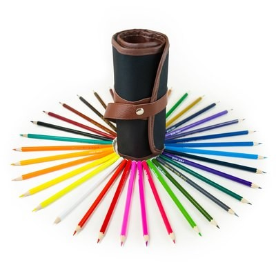 Art Wrap Case with 36 Assorted Colored Pencils