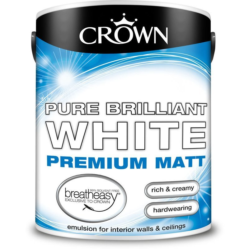 Crown Premium Matt Emulsion Paint Pure Brilliant White