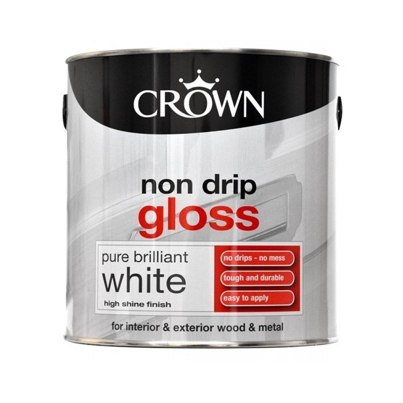 Crown Non Drip Gloss Paint Pure Brilliant White