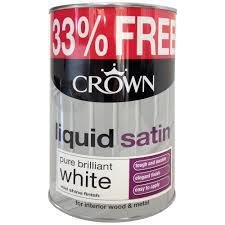 Crown Liquid Satin Pure Brilliant White Paint