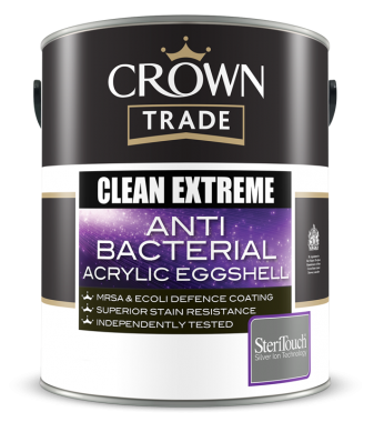 CROWN TRADE CLEAN EXTREME ANTI-BACTERIAL ACRYLIC EGGSHELL 5LTR