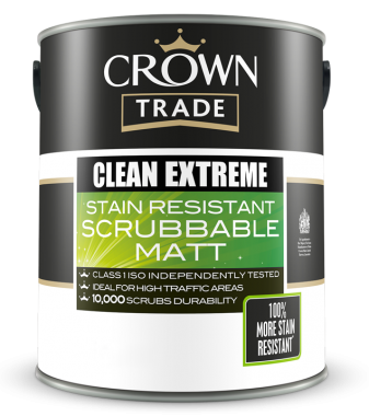 CROWN TRADE CLEAN EXTREME STAIN RESISTANT SCRUBBABLE MATT COLOURS