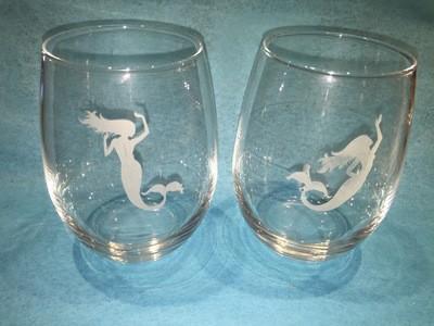 Mermaid Stemless 21 Oz. Wine Glasses -Set of 4