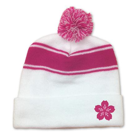 Cherry Blossom Pom Pom Knit Cap