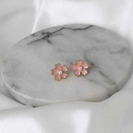 Cherry Blossom Pearl Stud Earrings