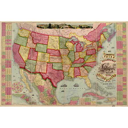 1872 American Union Map of United States