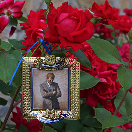 White House Ornament and Rose Plant Set