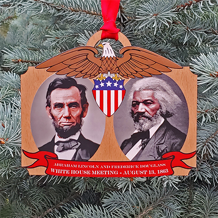 Lincoln Meets Douglass Holiday Ornament