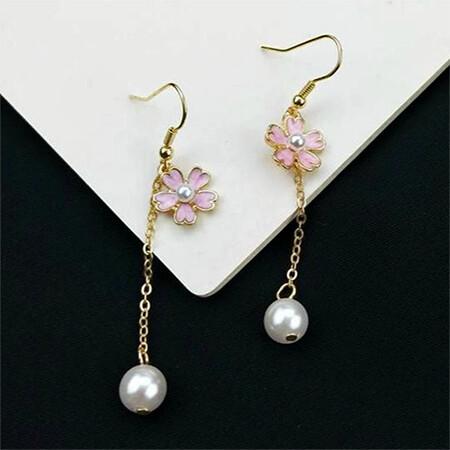 Cherry Blossom Flower Drop Pearl Earrings