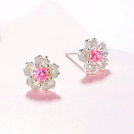 Pink Cherry Stone Silver Blossom Stud Earrings