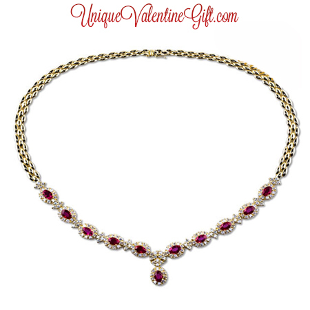 Valentine's Day - Diamond and Ruby Necklace