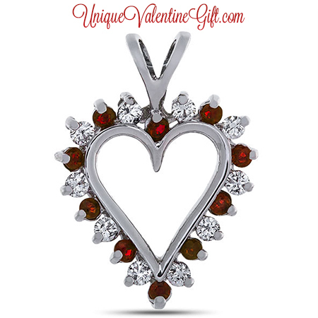 Valentine's Day - Diamond and Ruby Prong Set Heart Pendant