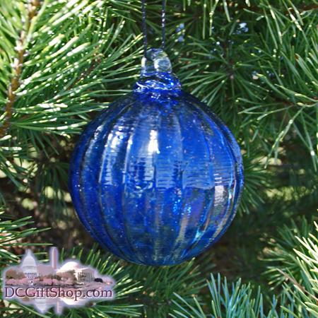"Ornaments - Glass - Cobalt Blue Crystal Optic 3"" Ball"