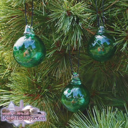 "Ornaments - Glass - Emerald Green Crystal 2"" Ball (set of 3)"